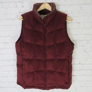 LL Bean Vest Womens Medium M Burgundy Goose